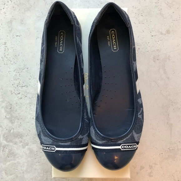 b0f5b7a6 COACH Indigo Navy Carie Signature Ballet Flats
